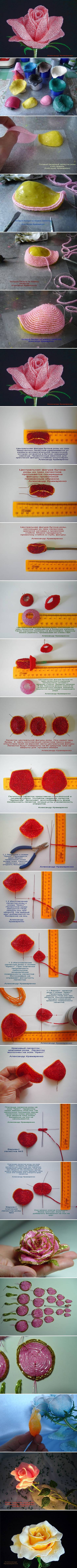 How to Make French Beaded Rose step by step DIY tutorial instructions