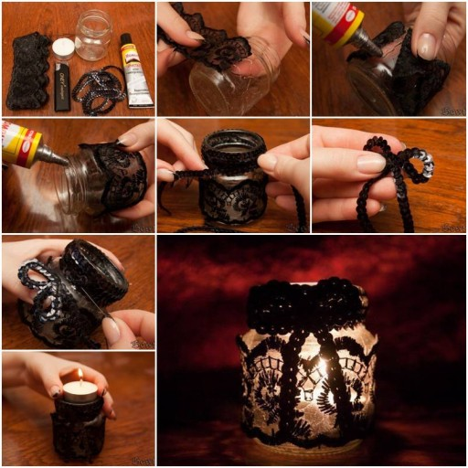 How to Make Lace Decorated Candle Holder step by step DIY tutorial instructions thumb