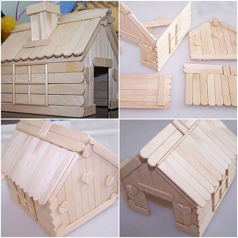 How to build a house with popsicle sticks step by step diy for How to build a house step by step