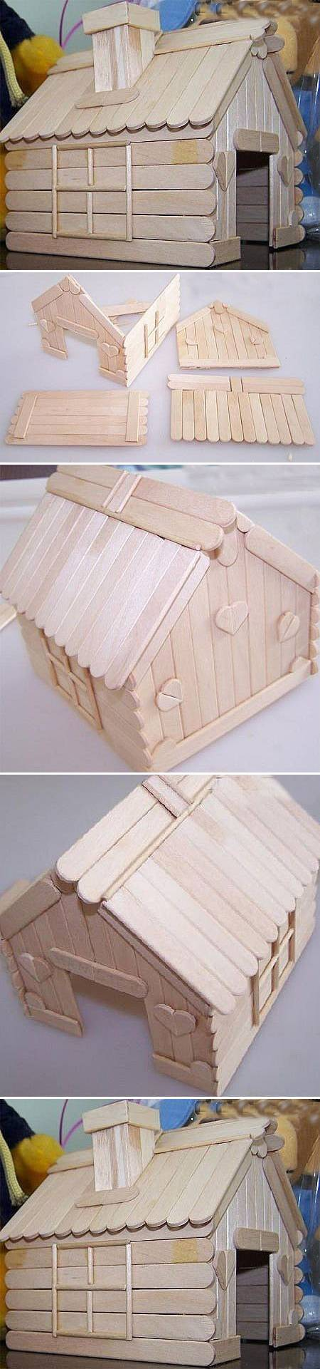 How to build a house with Popsicle Sticks step by step DIY tutorial instructions