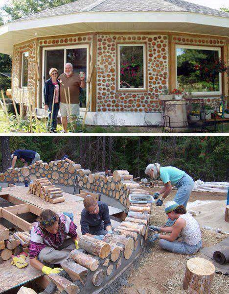 How to build a house with logs how to instructions for Cordwood house cost