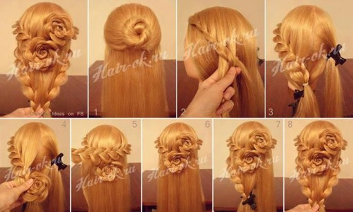 How to do pretty flower braid hairstyles step by step DIY tutorial instructions