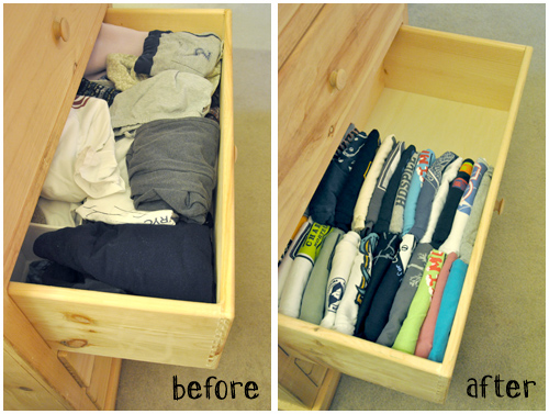 How to fold T-shirts properly to keep your drawer tidy step by step DIY tutorial instructions