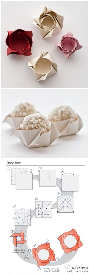 How to fold cute rose boxes for cup cakes step by step DIY tutorial instructions