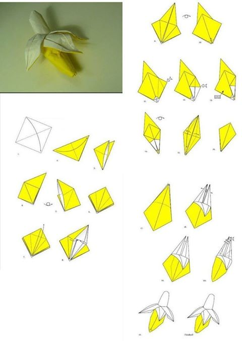 How to fold origami paper craft banana step by step DIY tutorial instructions