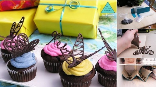 How to make 3D chocolate dragonfly cup cake topping step by step DIY tutorial instructions