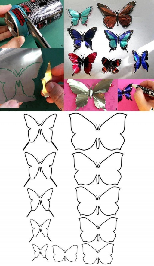 How to make Aluminum Can Butterfly step by step DIY tutorial instructions