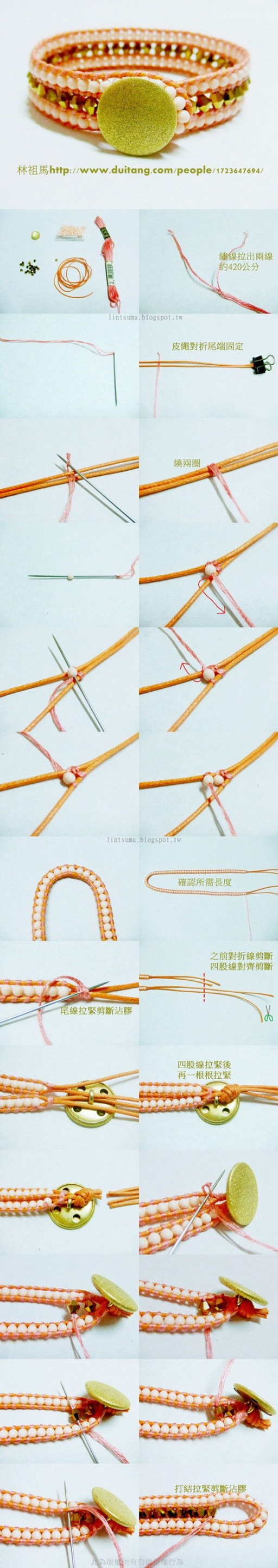 How to make Beaded Cord Bracelet step by step DIY tutorial instructions