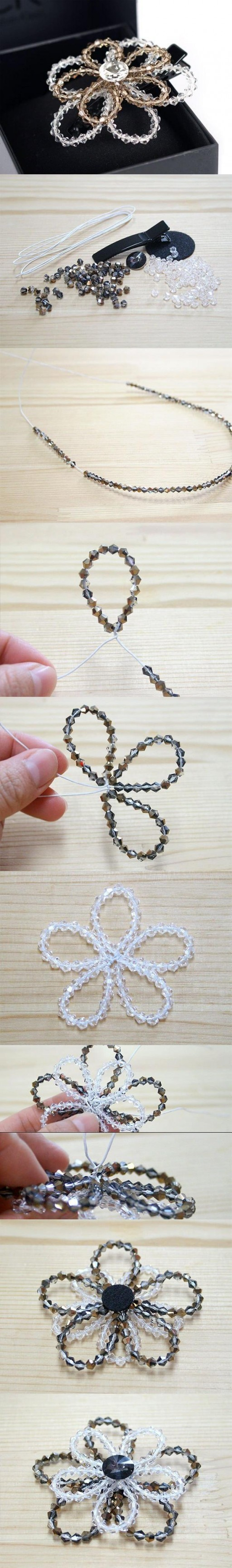 How to make Beaded Crystal Flower step by step DIY tutorial instructions