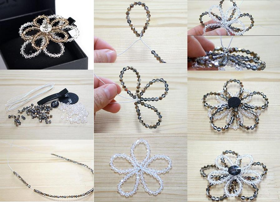 How to make beaded crystal flower step by step diy for How to make beads craft