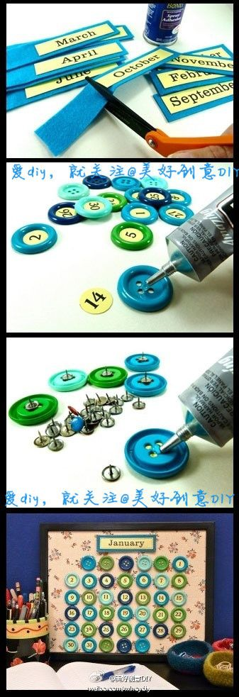 How to make Beautiful Button Calendar step by step DIY tutorial instructions