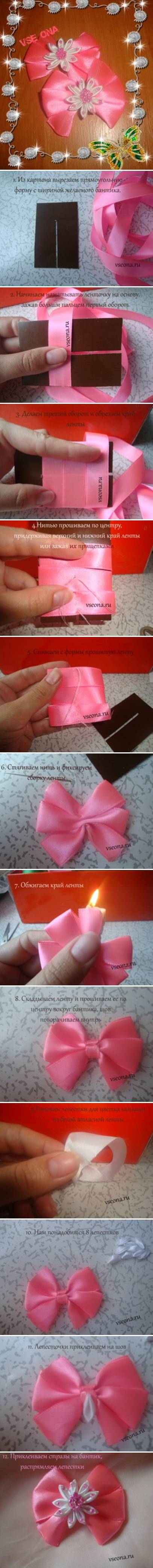 How to make Beginner Flower Bow step by step DIY tutorial instructions