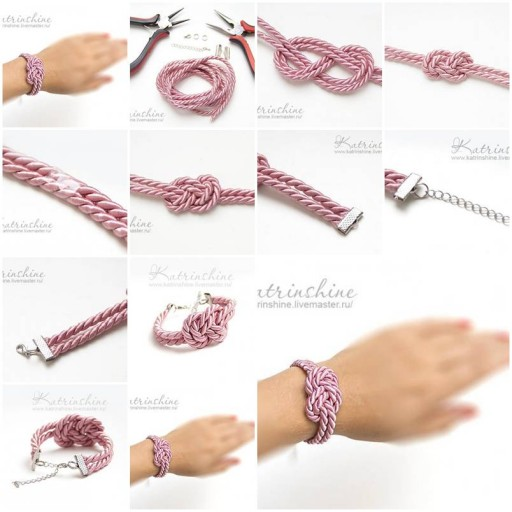 How to make Bracelet with a Knot of Silk Cord DIY tutorial instructions thumb