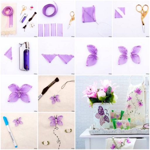 How to make Butterfly Hand Ribbon Embroidery DIY tutorial instructions thumb
