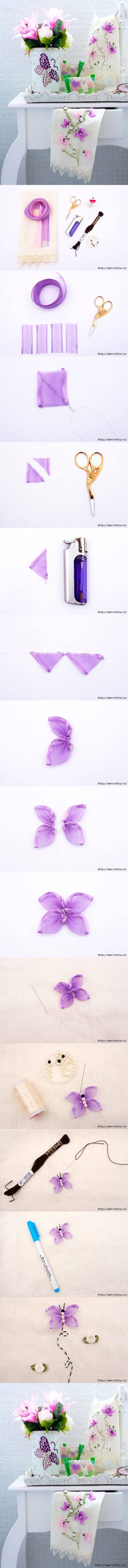 How to make Butterfly Hand Ribbon Embroidery DIY tutorial instructions
