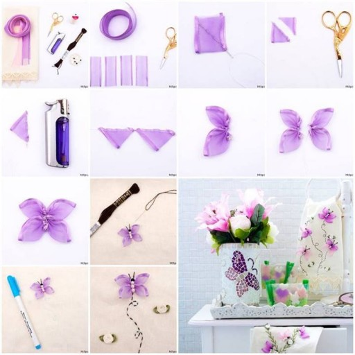 How to make Butterfly Hand Ribbon Embroidery step by step DIY tutorial instructions thumb
