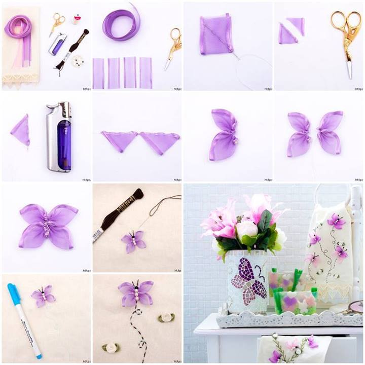 How To Make Butterfly Hand Ribbon Embroidery Step By Step