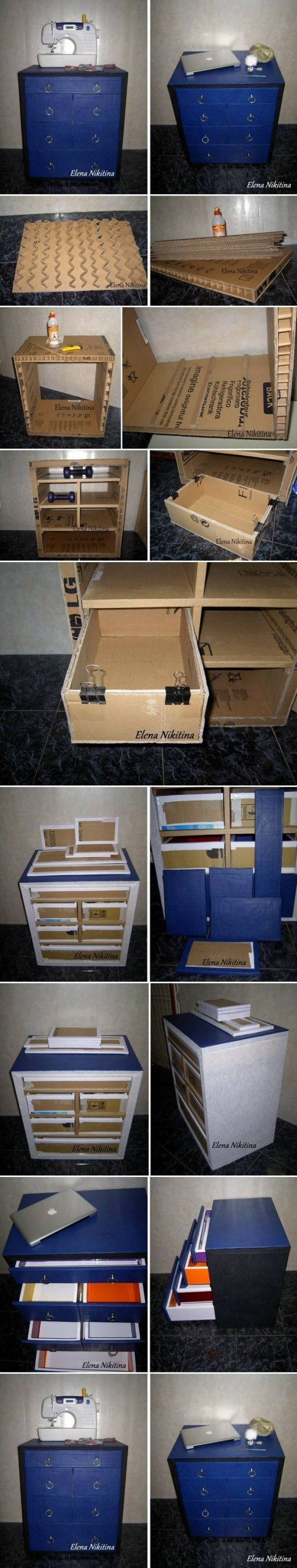 How to make Cardboard Chest with Drawers storage units step by step DIY tutorial instructions
