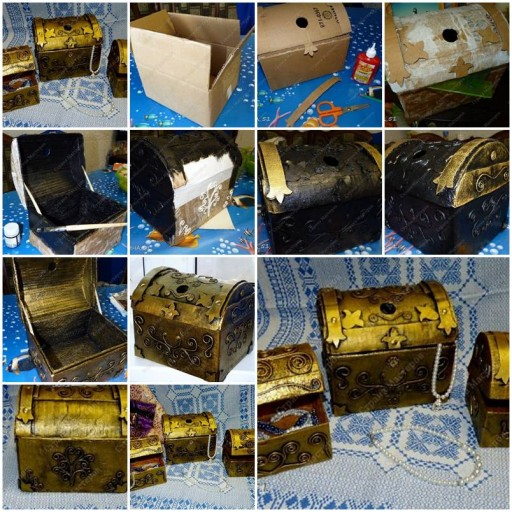 How to make Cardboard Jewelry Treasure Box step by step DIY tutorial instructions thumb