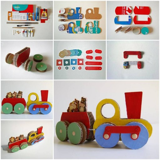 How to make Cardboard Train step by step DIY tutorial instructions thumb