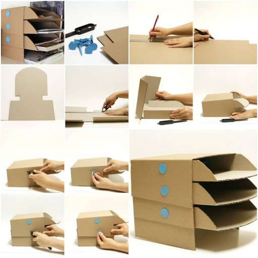 How to make Cardboard office Desktop storage Trays step by step DIY tutorial instructions thumb