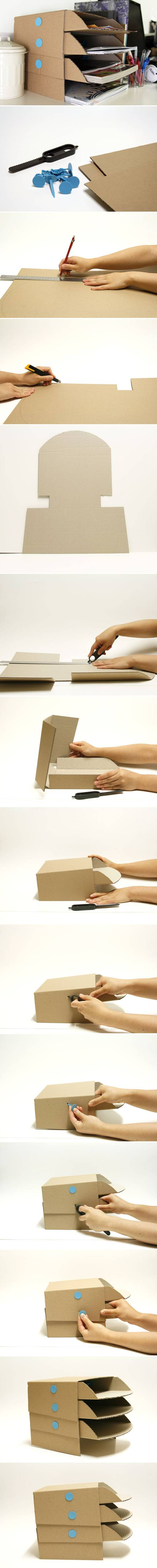 How to make Cardboard office Desktop storage Trays step by step DIY tutorial instructions