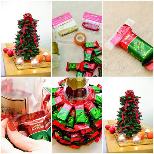 How to make Christmas Tree with Chocolate Bars DIY tutorial instructions thumb