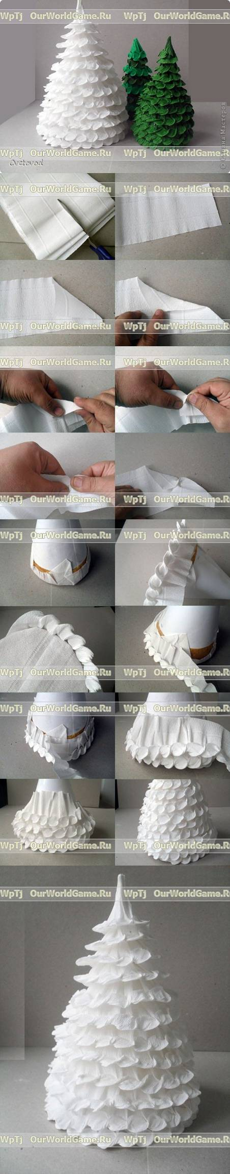 How to make Corrugated Paper Christmas Tree step by step DIY tutorial instructions