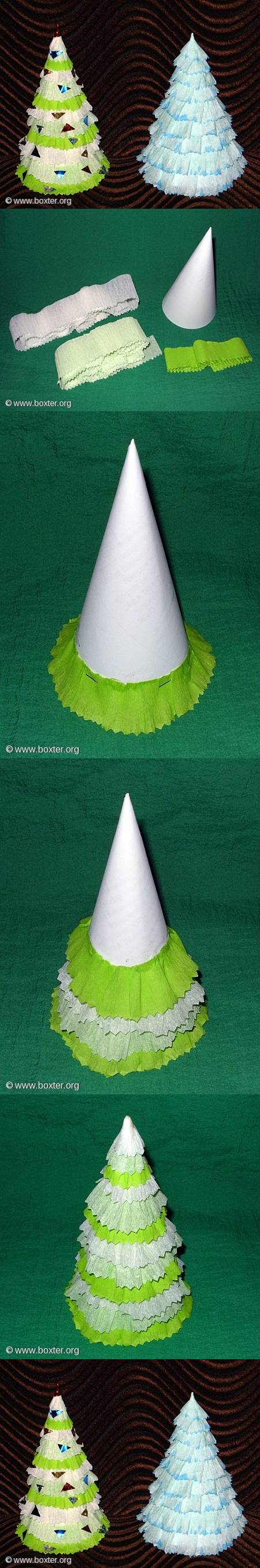 How to make Crepe Paper Christmas Tree step by step DIY tutorial instructions