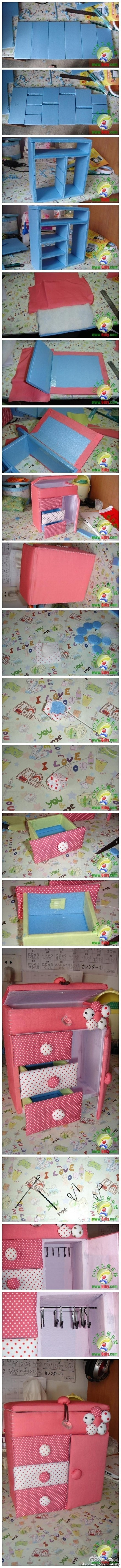 How to make Cute Toy Dresser step by step DIY tutorial instructions