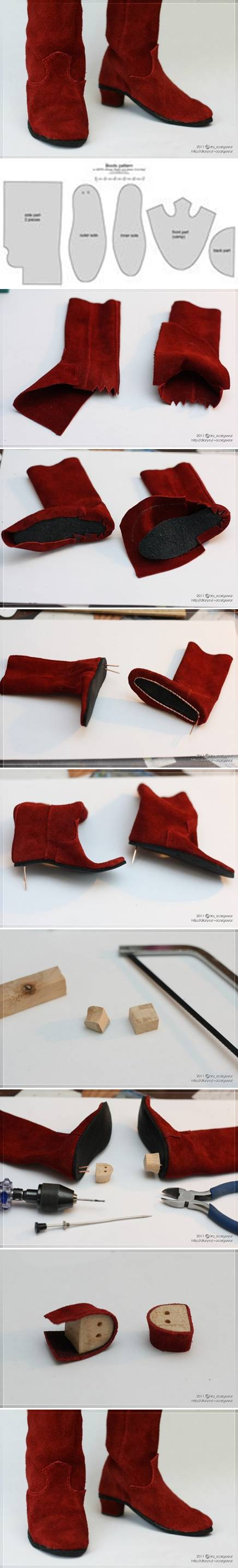 How to make Doll Boot step by step DIY tutorial instructions