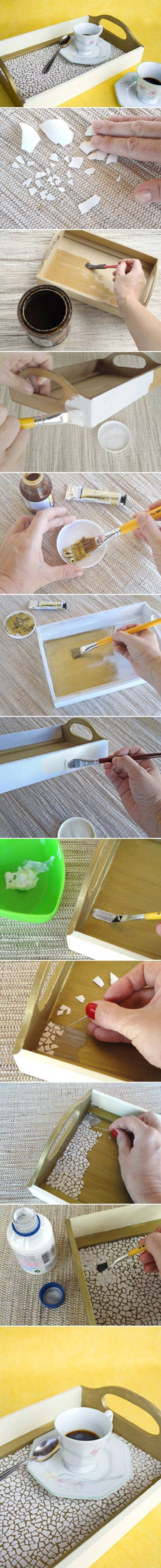 How to make Eggshell Mosaic Coffee Tray step by step DIY tutorial instructions
