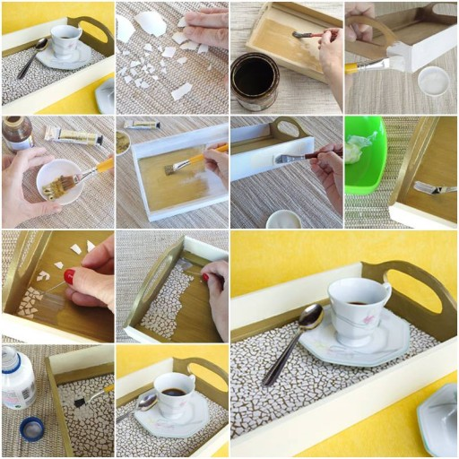 How to make Eggshell Mosaic Coffee Tray step by step DIY tutorial instructions thumb