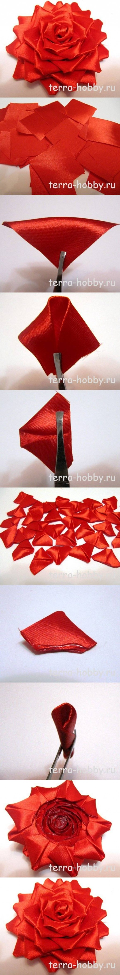 How to make Elegant Ribbon Rose for Wedding DIY tutorial instructions
