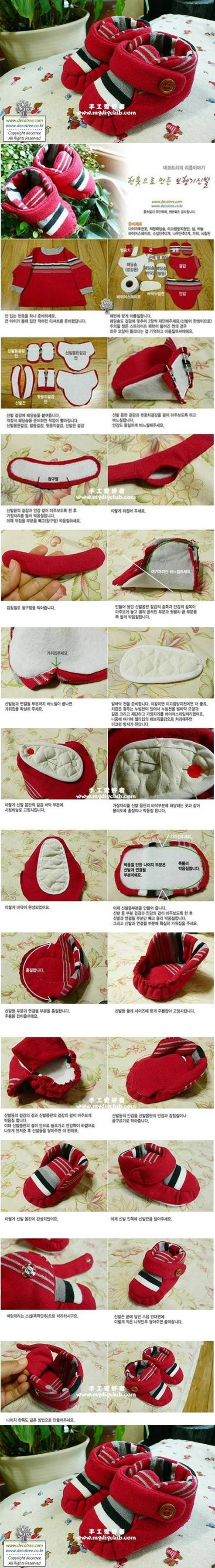 How to make Fabric Baby Booties step by step DIY tutorial instructions