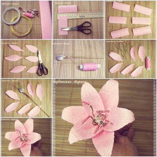 How to make Gentle Lily Flowers DIY tutorial instructions thumb