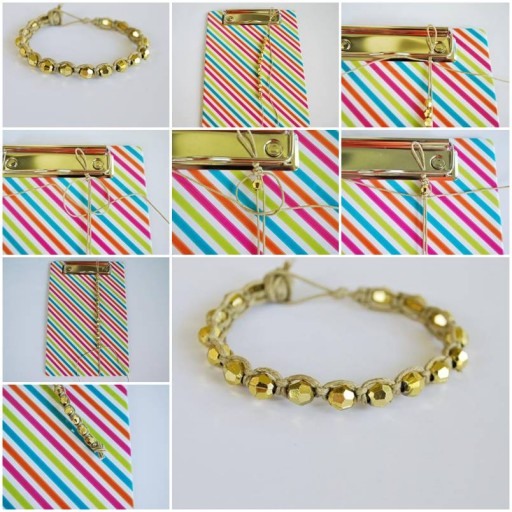 How to make Gold Beads Wristband DIY tutorial instructions thumb