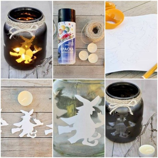 How to make Halloween Candle in Vase DIY tutorial instructions thumb