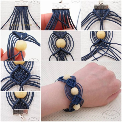 How to make Macrame Beads Bracelet step by step DIY tutorial instructions thumb