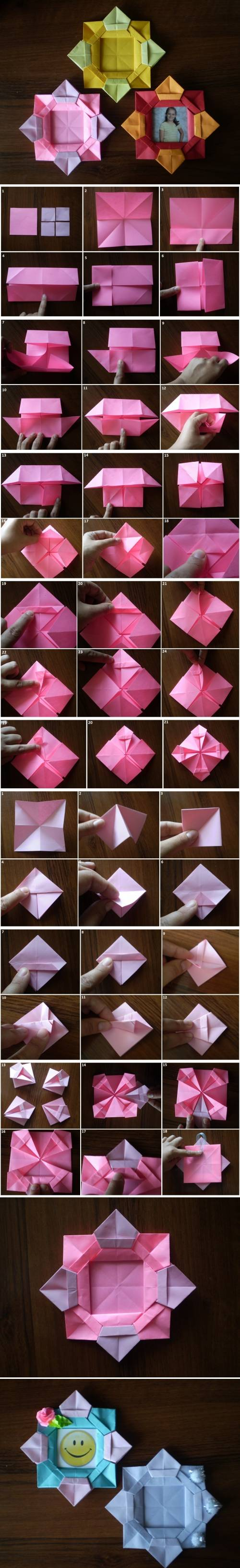 How to make Origami Flower Picture Frame step by step DIY tutorial instructions