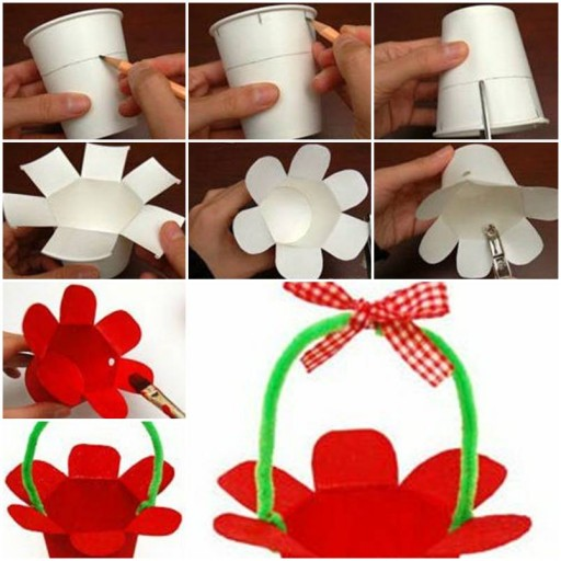 How to make Paper Cup Basket step by step DIY tutorial instructions thumb