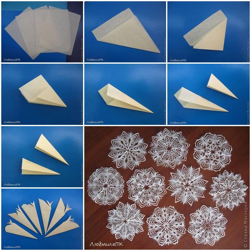 Снежинки из бумажных салфеток своими руками 113