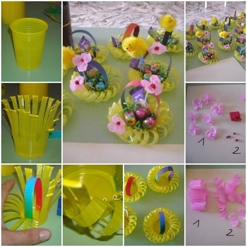 How To Make A Flower Paper Basket : How to make plastic cup flower basket step by diy