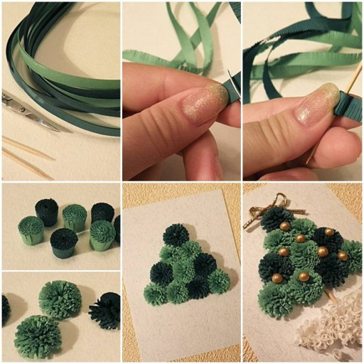 How to make Quilled Christmas Tree business christmas cards DIY tutorial instructions thumb