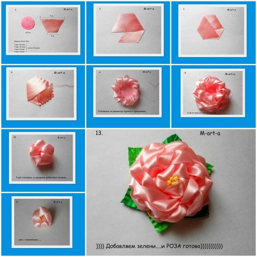 How to make Rose  flowers from Voile Ribbon DIY tutorial instructions thumb