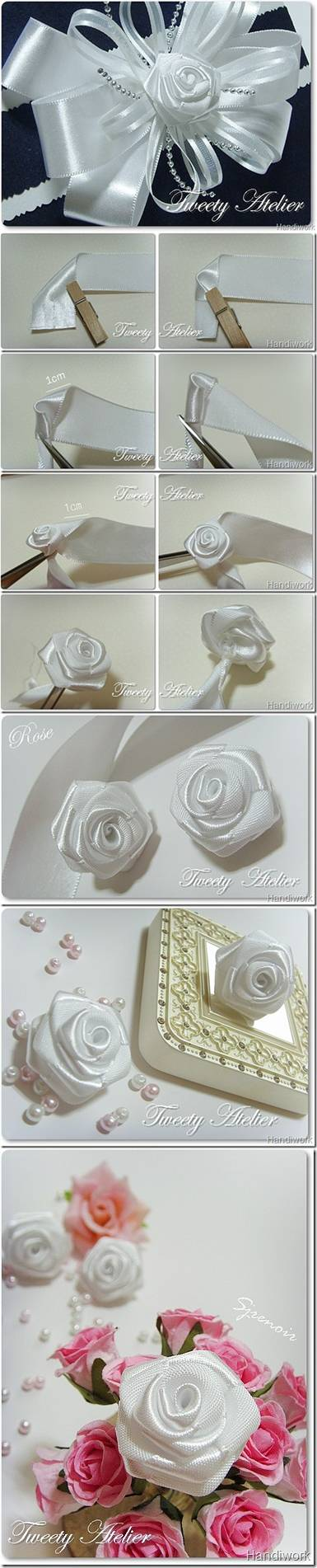 How to make Rose of Satin Ribbon DIY tutorial instructions