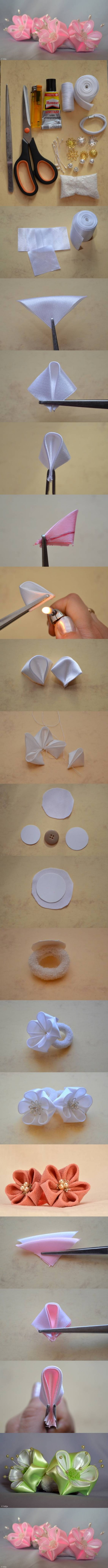 How to make Round Petals Ribbon Flower DIY tutorial instructions