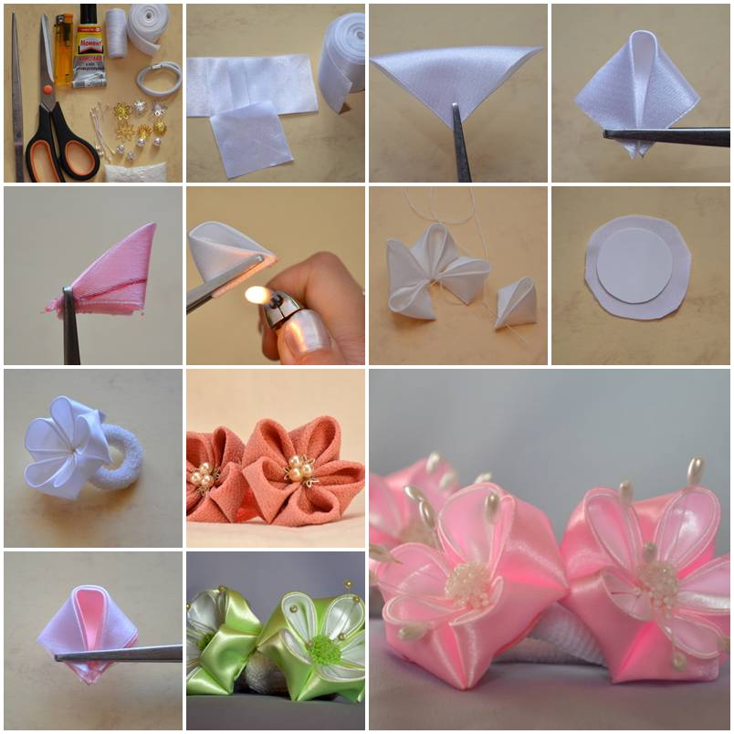 Поделки цветочков из ленточек