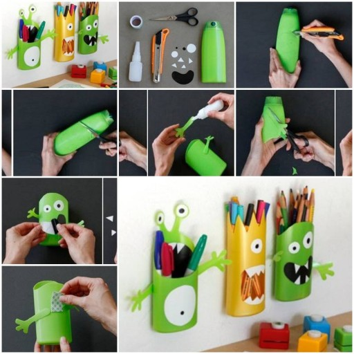 How to make Shampoo Bottle Monster Pencil Holder step by step DIY tutorial instructions thumb
