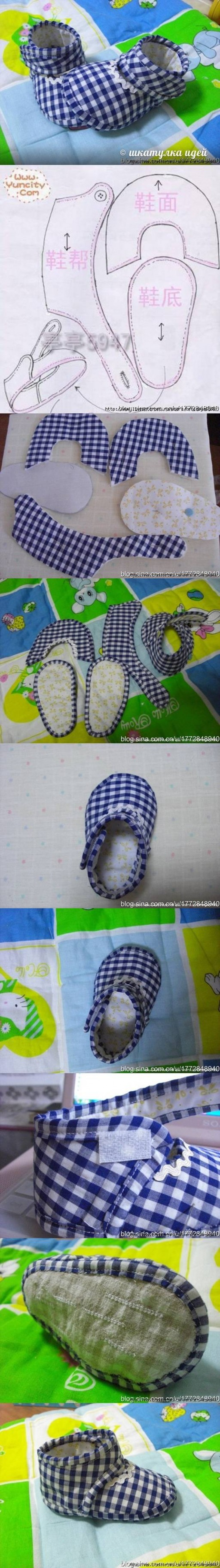How to make Slippers for Babies step by step DIY tutorial instructions